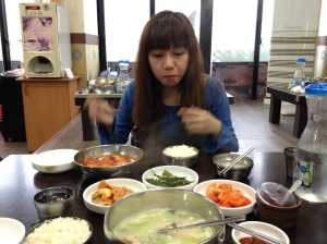Chicken ginseng soup best enjoyed with my two time Seoul companion.